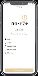PhiShop App - Choose Currency