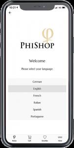 PhiShop App - Choose Language